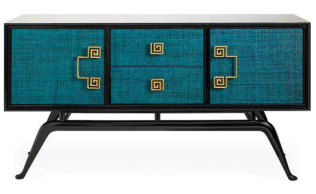 Credenza coated in a colorful peacock blue