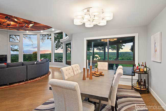 Dining room flows into a great room