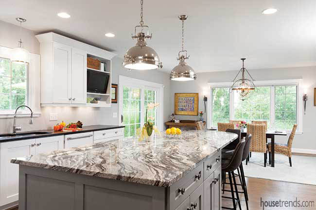 Granite countertop adds movement to a kitchen