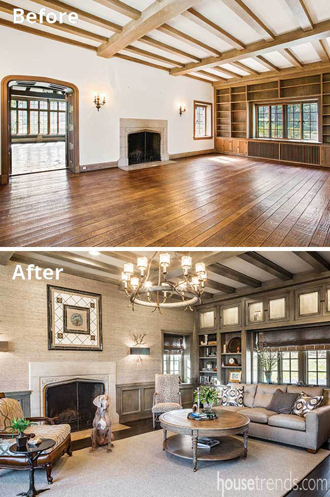 Fireplace surround survives a remodel