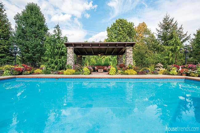 Salwater swimming pool dominates back yard