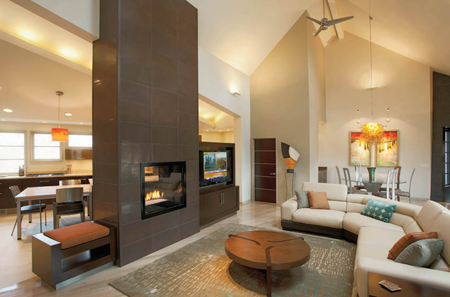Lighting accentuates a home's warm interior