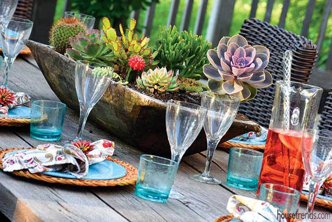 Succulents dress up an outdoor table