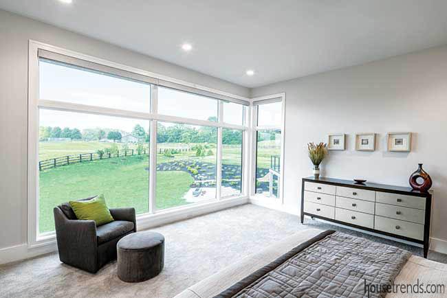 Master bedroom boasts wall of windows