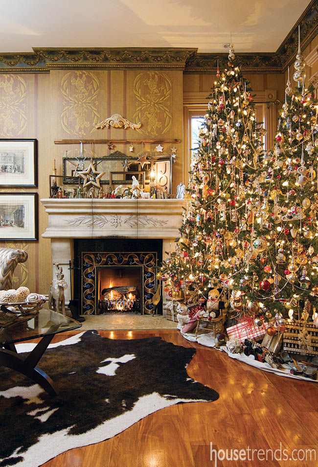 Christmas trees dominate a parlor