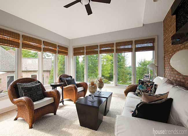 Cozy furniture in a sunroom