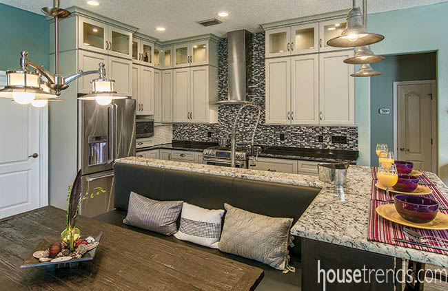 Light fixtures were the perfect pick for a kitchen