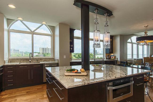 Kitchen island houses a plethora of conveniences