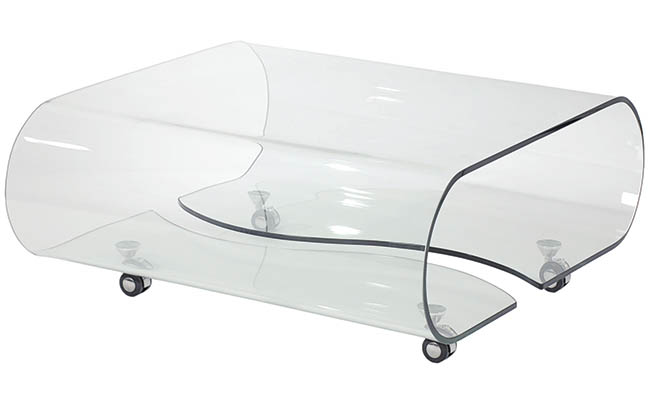 Coffee table made of one piece of glass