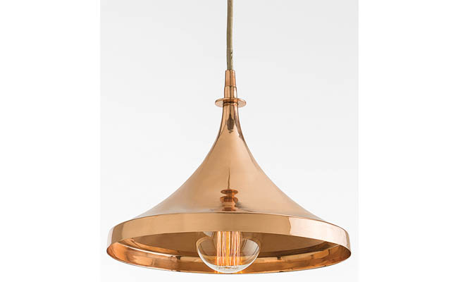 Pendant light with copper finish