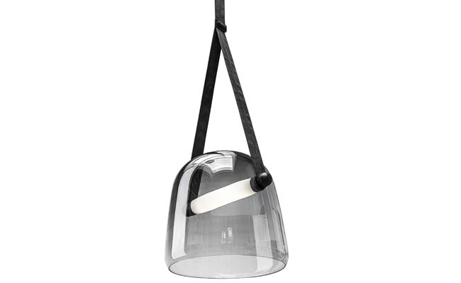 Pendant light with a mixture of materials