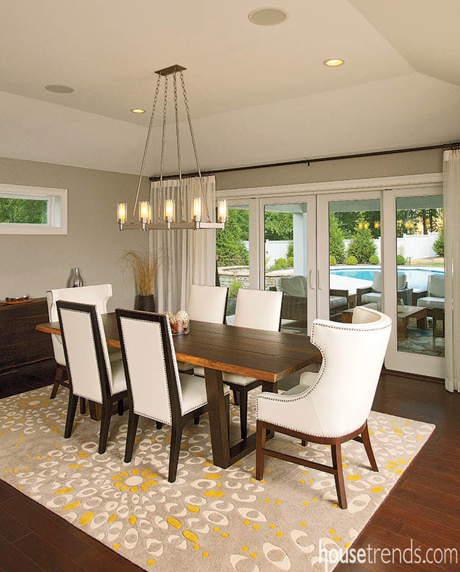 Doors open up a dining room design