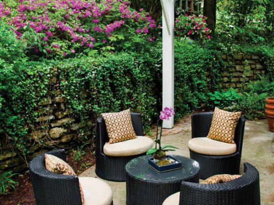 A patio set provides a comfortable perch for parent supervision