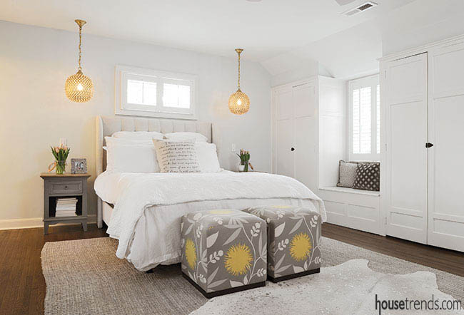 Area rugs soften up a bedroom design