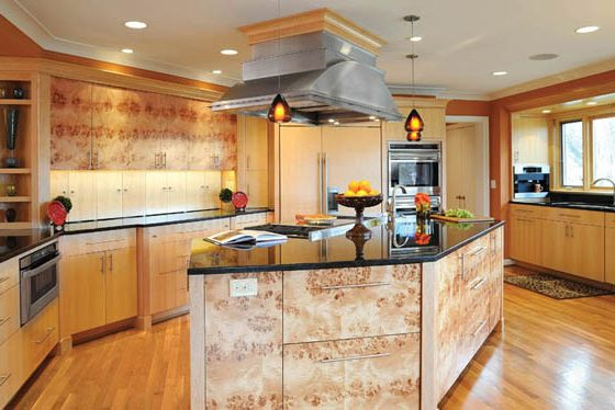 Cabinets contribute to a cozy kitchen design