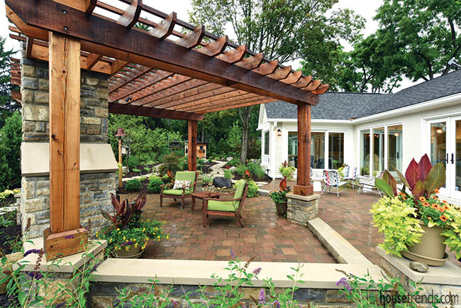 Pergola adds protection to an outdoor living space