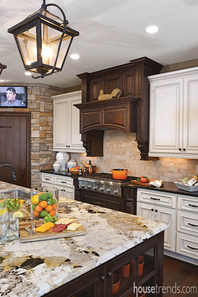 Two-tone cabinetry adds drama to a kitchen design