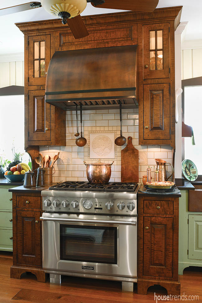 Curly maple cabinetry serves as a focal point