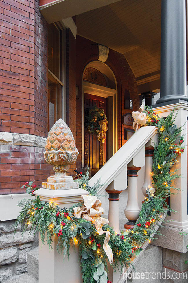 Holiday decorations welcome guests to a home