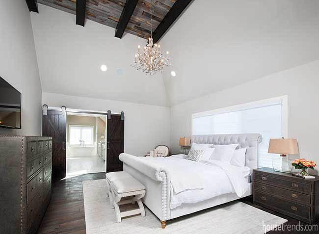 Furniture pops in a master bedroom
