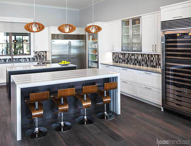 Two islands in a white kitchen design