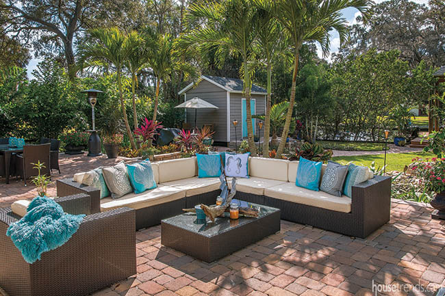 Throw pillows brighten up an outdoor living space