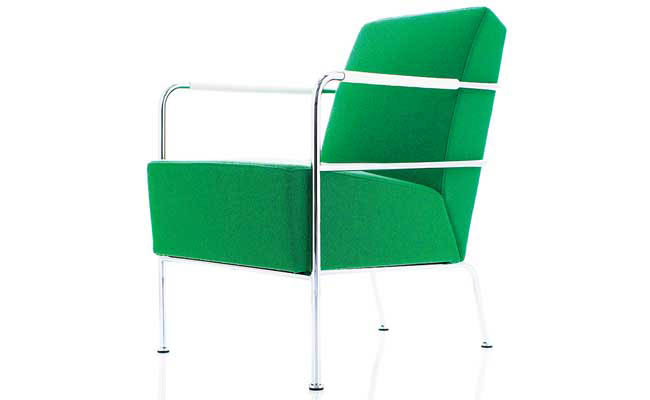 Easy chair in a bright green fabric