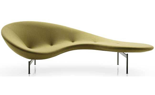 Curvy sofa embraces guests