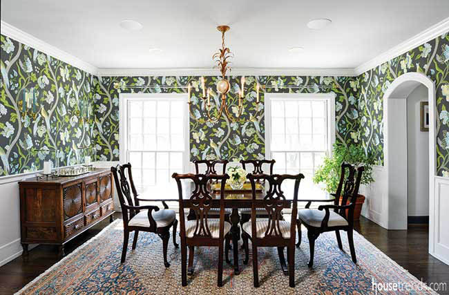 Patterned wallpaper adds spunk to a dining room