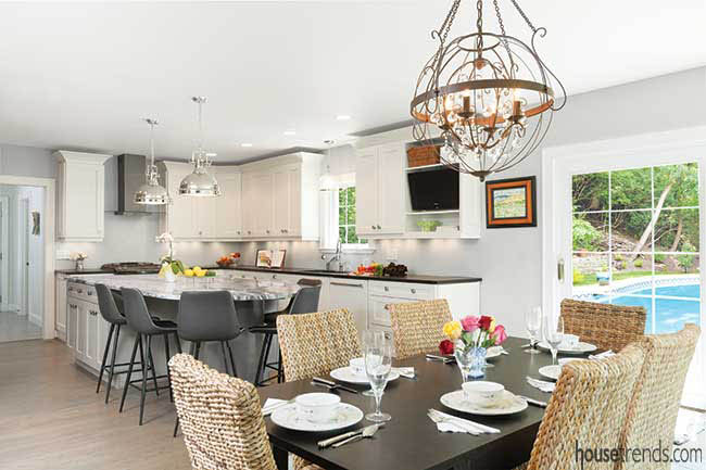 Light fixtures dazzle in a kitchen