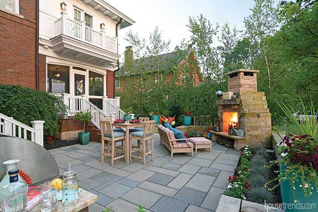 Fireplace heats up a patio