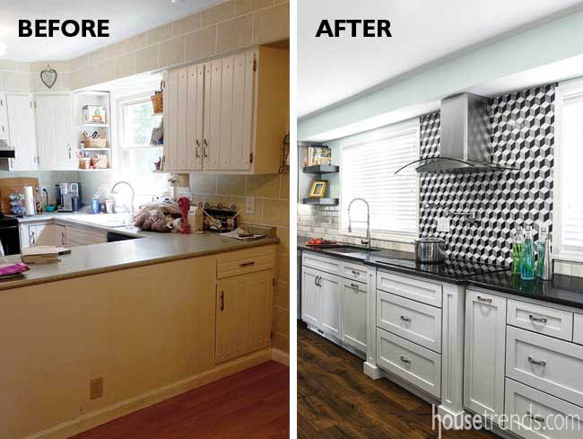 Kitchen backsplash with a 3-D effect
