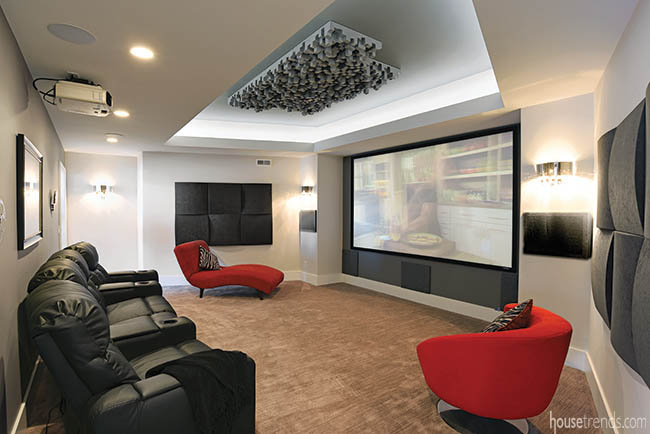 Modern furniture adds color to a home theatre