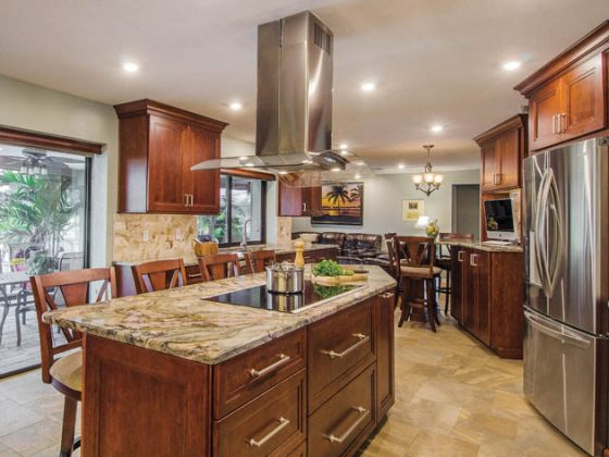Kitchen design ideas include wide prep areas and other modern amenities