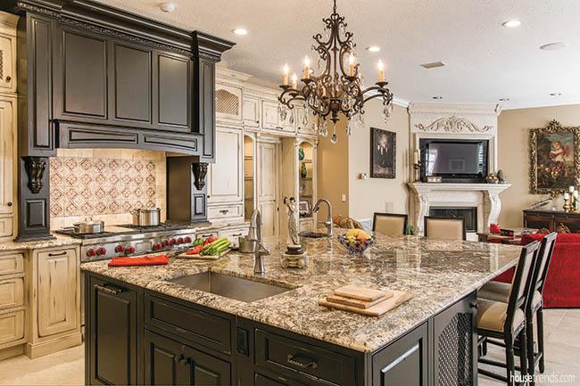 Chandelier dresses up a kitchen