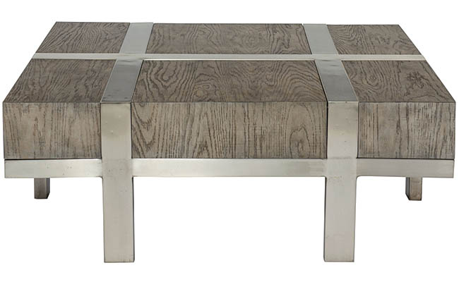 Coacktail table made from a mix of materials