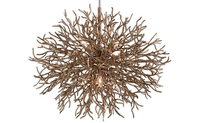 Chandelier with a distressed bronze finish