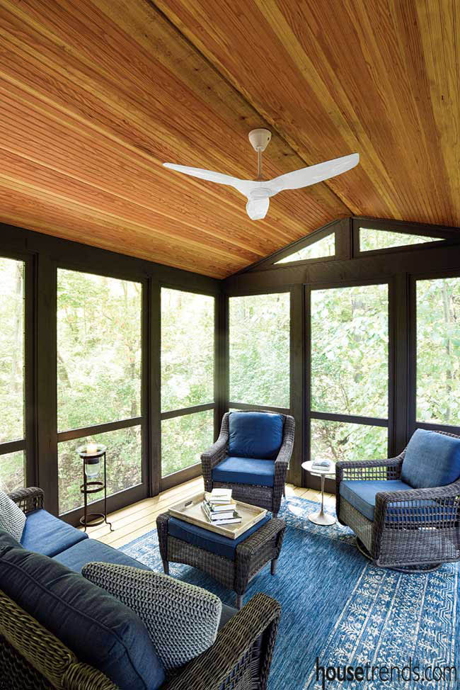 Screening keeps bugs out of a porch area