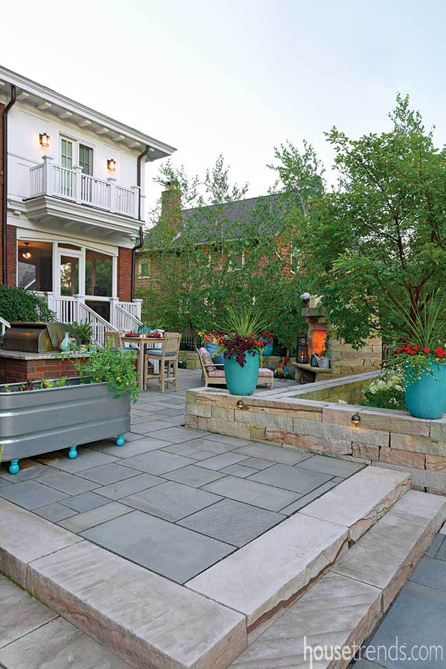 Patio with a variety of gathering spaces