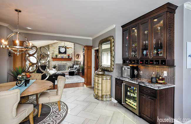 Wet bar complements a casual eating area