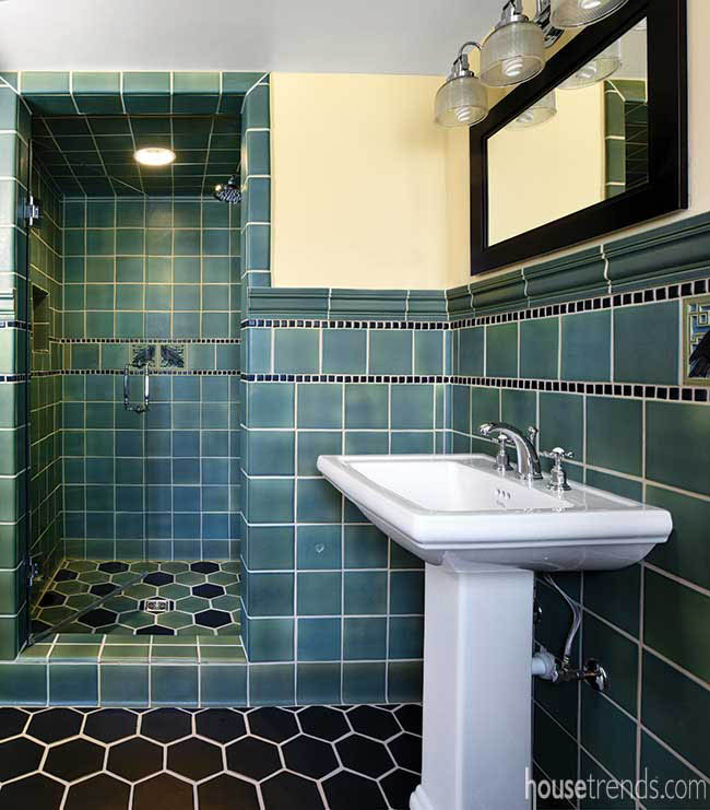 Blue tile in a guest bathroom