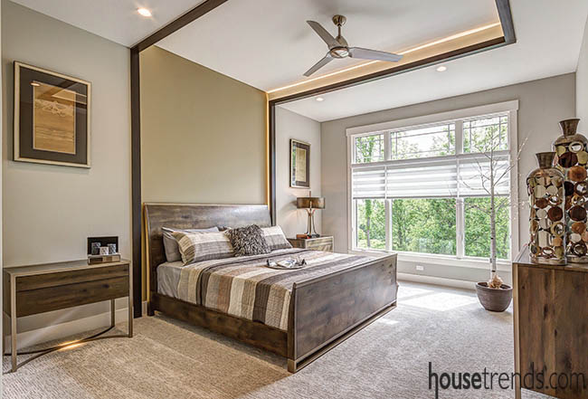 Tray ceiling has connection to headboard