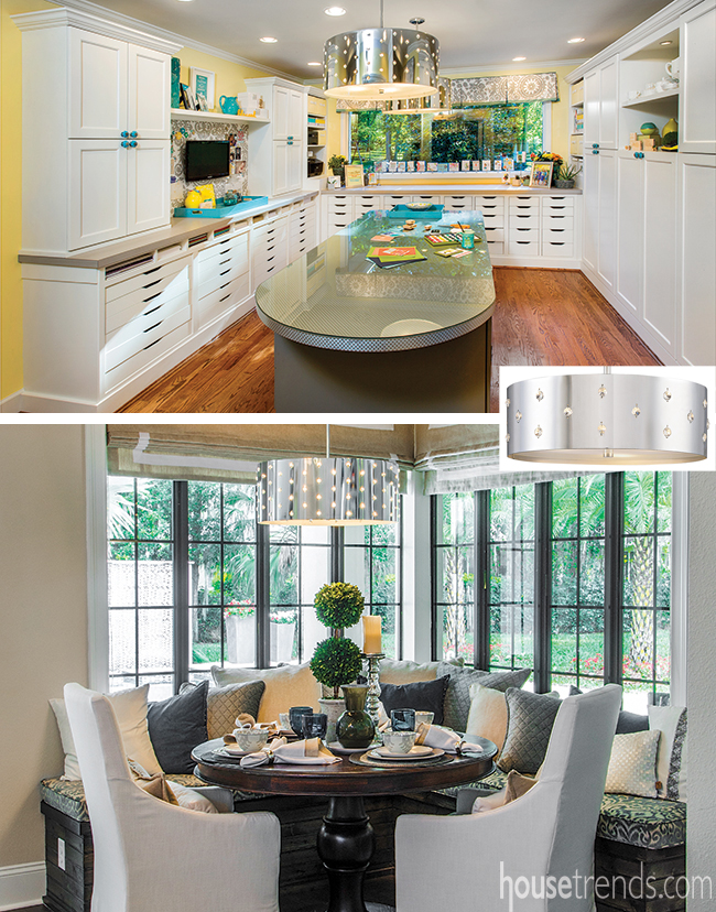 Two homes with the same pendant light