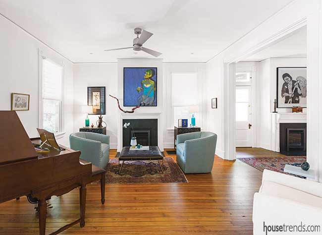 Living room spotlights artwork