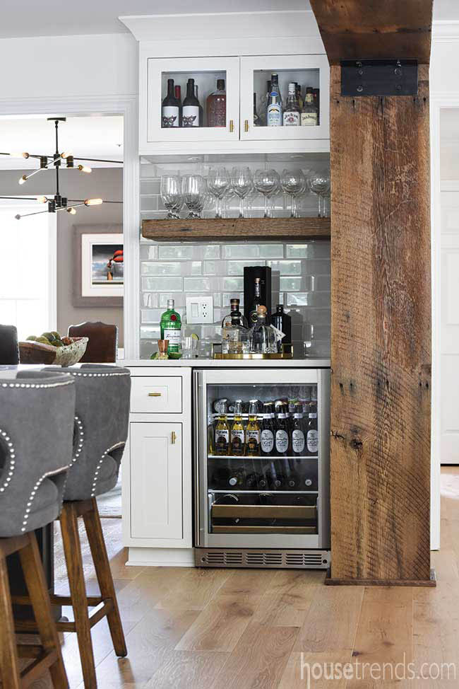 Mini bar is easily accessible from dining and family rooms
