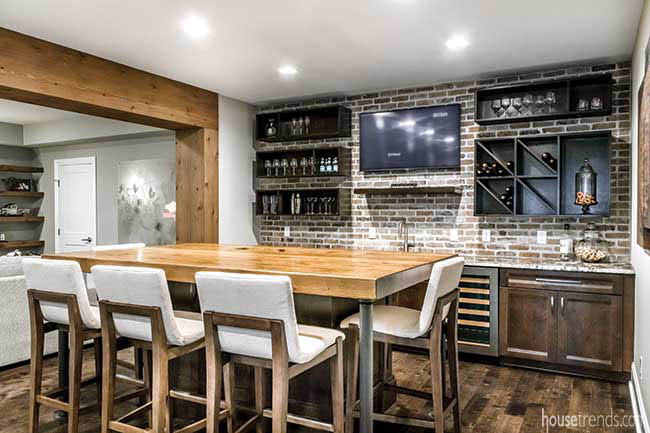 Basement bar with island seating