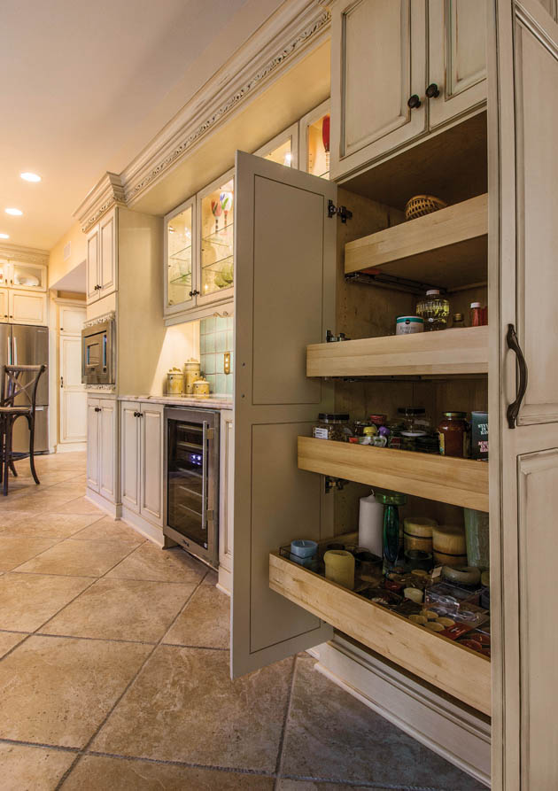 A pantry organizer replaces wasteful shelving