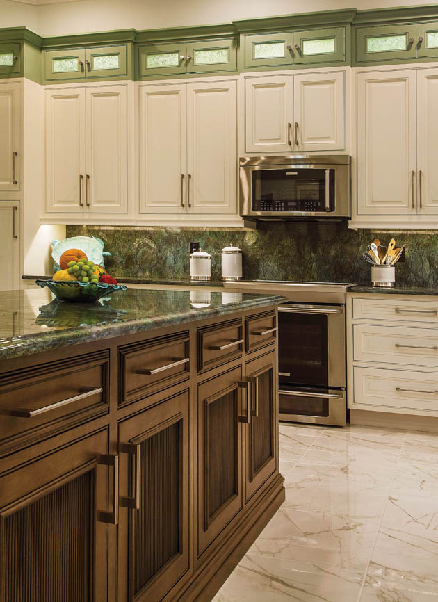 Two-tone kitchen cabinet design creates a focal point