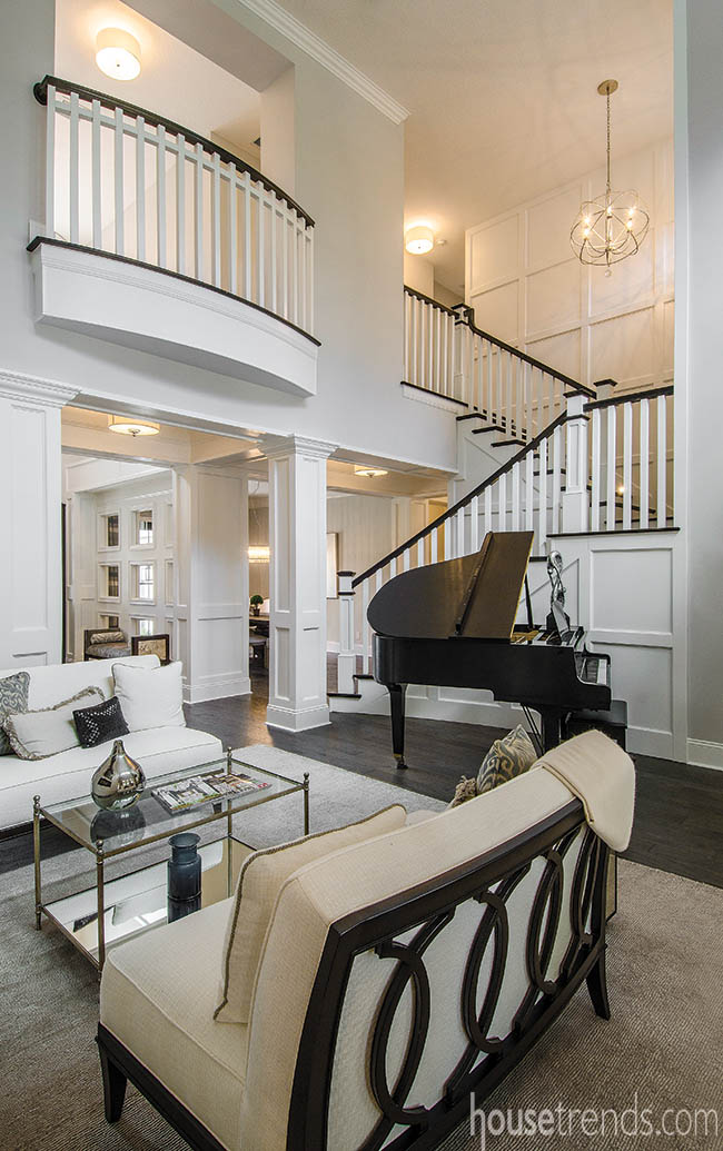 Classic room design ideas include adding a grand piano to a great room