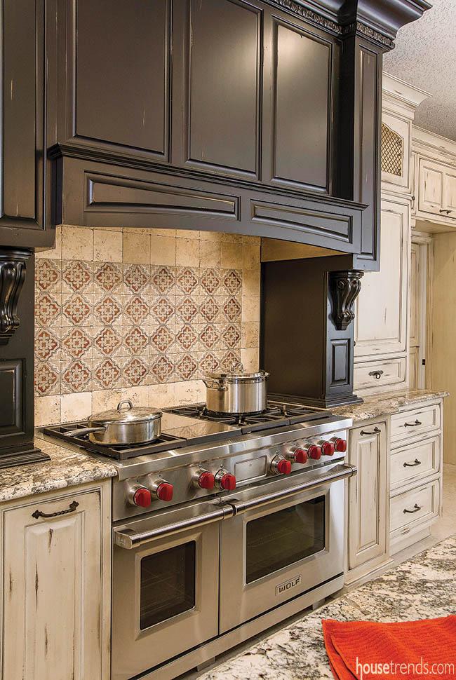 Backsplash design calls attention to custom appliances